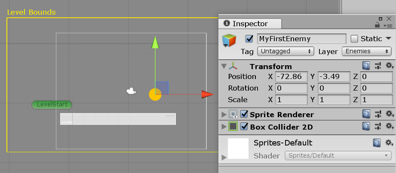Depicting Unity Inspector and Sprite